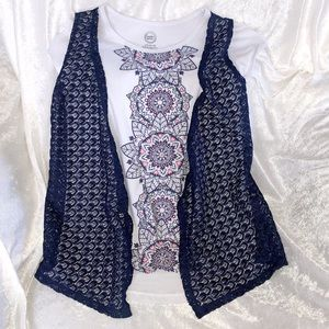 Short sleeve tee with faux vest
